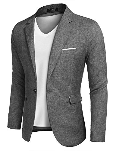 COOFANDY Men's Casual Suit Blazer Jackets Lightweight Sports Coats One Button (M, 1-Grey)