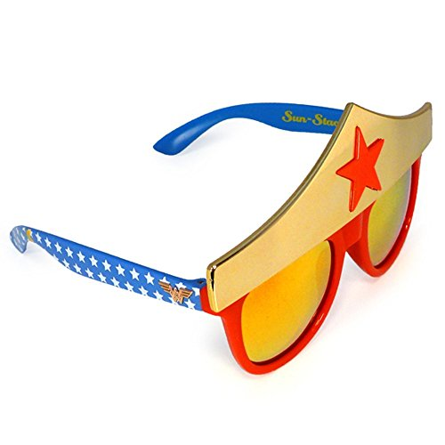 Sunstaches DC Comics Wonder Woman Star Sunglasses, Party Favors, UV400]()