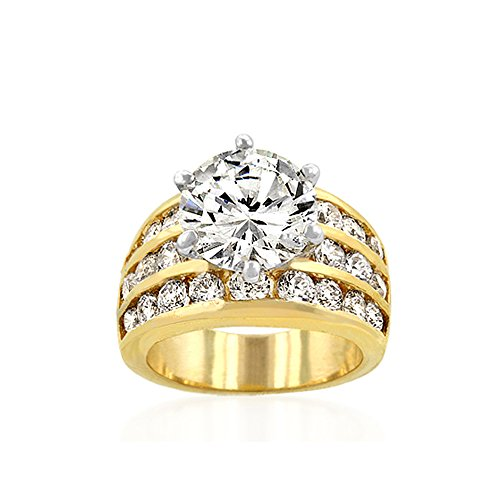 Brass 18k Gold Electroplated (J Goodin Youth Trendy Wedding Marriage Classic Gold Engagement Ring Size 8)