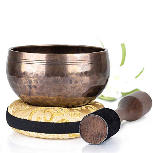 (Silent Mind ~ Tibetan Singing Bowl Set ~ Beaten Antique in Glossy ~ With Dual Surface Mallet and Silk Cushion ~ Promotes Peace, Chakra Healing, and Mindfulness ~ Exquisite Gift)