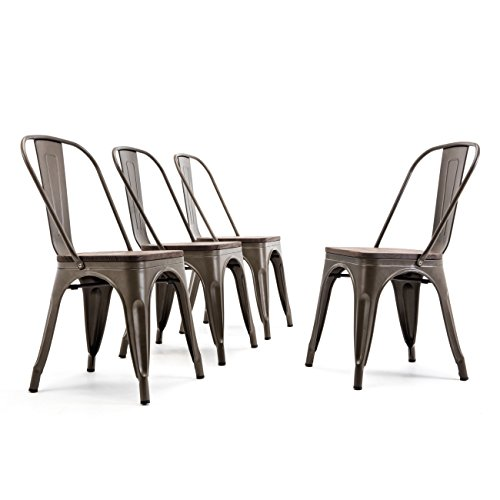 Belleze Bistro Dining Chairs Modern Style Metal Industrial Set of 4 Wood Seat Restaurant Cafe Bar Stool Stackable Bronze ()