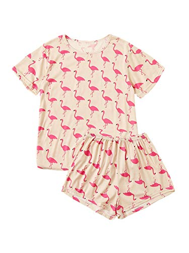 (DIDK Women's Flamingo Print Tee and Shorts Pajama Set Pink M )