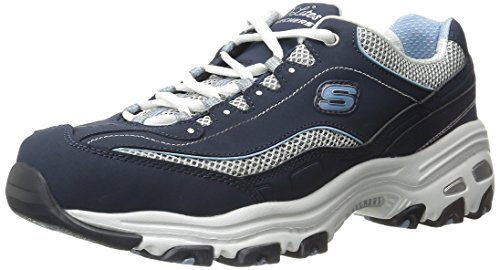 Skechers Sport Women's D'Lites Memory Foam Lace-up Sneaker,Navy/White,10 M US