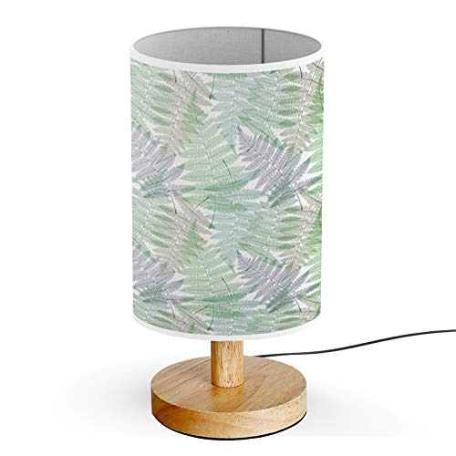 ARTSYLAMP - Wood Base Decoration Desk Table Bedside Light Lamp [ Fern Leaves Botanical ] ()
