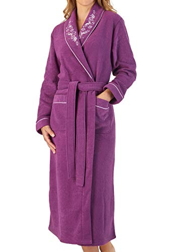 - Slenderella Womens Shawl Collar Dressing Gown Boucle Fleece Embroidered Housecoat Small (Plum)