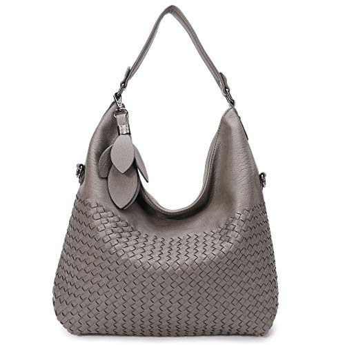 Braided Handbag Women Shoulder bag Large capacity Work Bag Stylish Hobo Bag (Gray0282)