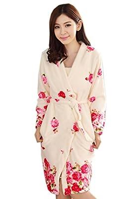 Fashion Rose Fleece Robes for Women, 2Pcs Robe & Sleep Skirt