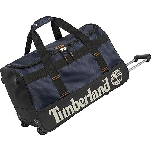 Timberland Wheeled Duffle 26 Inch Lightweight Rolling Luggage Travel Bag Suitcase Duffel, Dark Blue, One Size