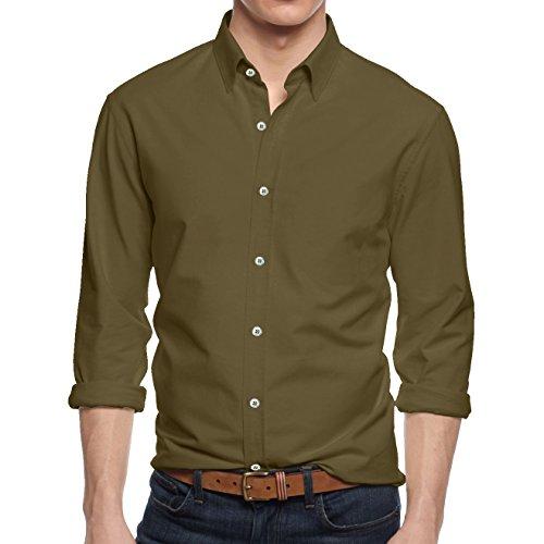 Alta Men's Long Sleeve Button Down Cotton Extra Slim Fit Pointed Collar Dress Shirt - Khaki - Medium