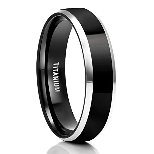 TIGRADE 6mm Black Titanium Wedding Bands Comfort Fit Flat Two Silver Tone Ring(6mm, 9)