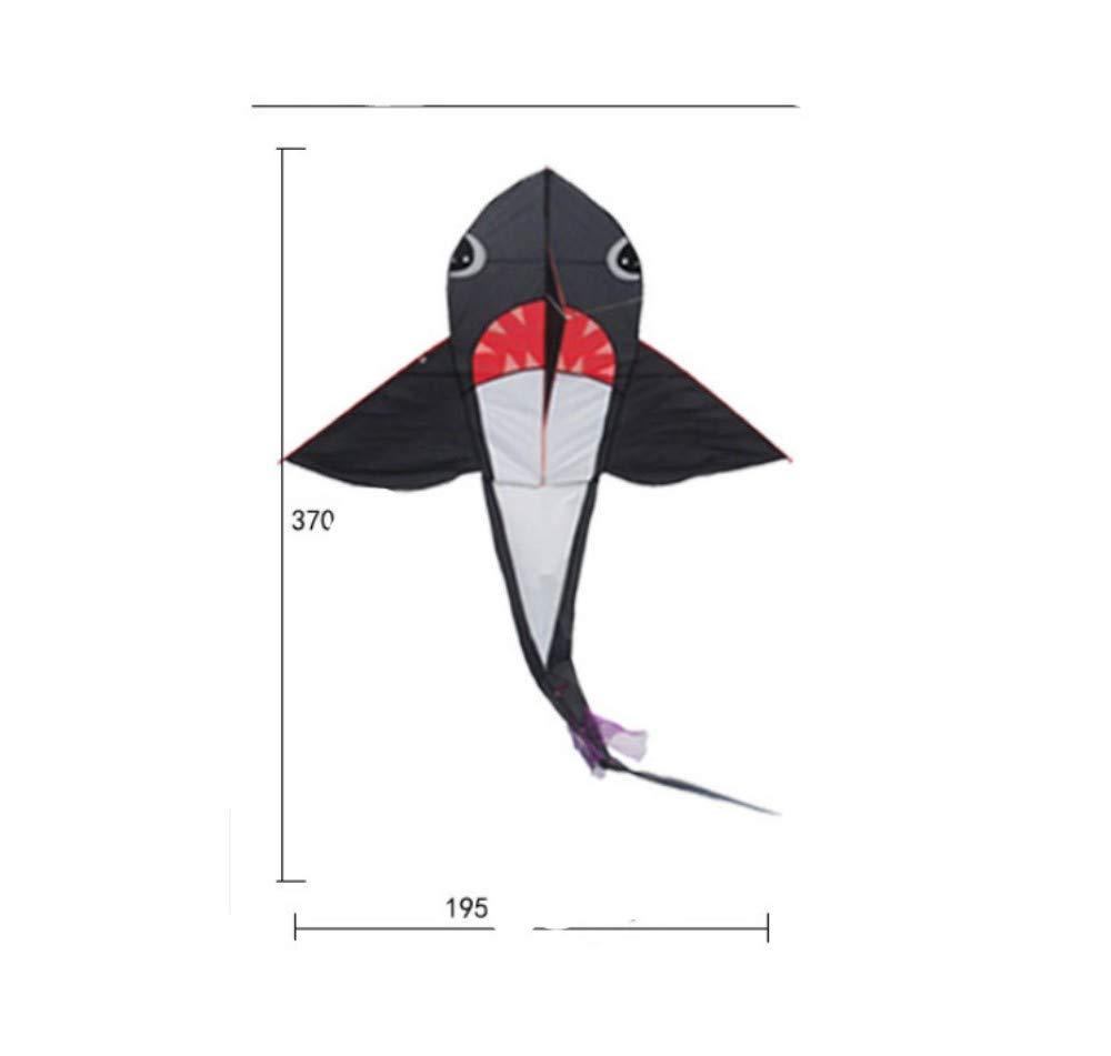 YPKHHH Kreativer Drachen Neuer großer Stereo Outdoor schwarz + weißer Hai mit Schnur 300m Schnur 370cm + 195cm