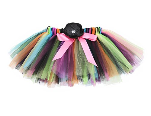 Dream Girl Witch Costume (Tutu Dreams Lime Green Black Orange Mix Witch Tutus for Teens Girls (Large, 8-10Y ))