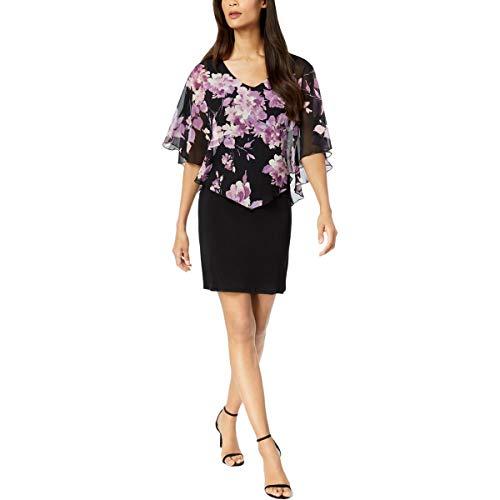 - Connected Apparel Womens Petites Capelet Chiffon Sheath Dress Black 6P