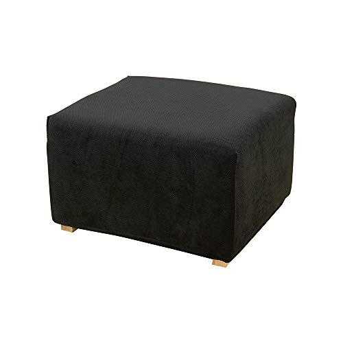 (SureFit Stretch Pique 1-Piece - Ottoman Slipcover - Black)