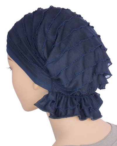 Abbey Cap Women's Chemo Hat Beanie Scarf Turban Headwear for Cancer Ruffle Navy Blue