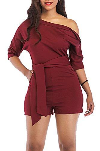 Veroge Women's Fashion Cold Shoulder Belted Short Romper Jumpsuit Wine Red XL (Ruby Belted Belt)