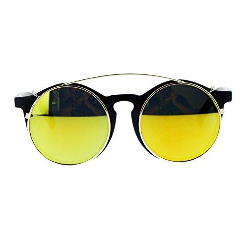SA106 Detachable mirrored Lens Clipon Circle Keyhole Glasses Sunglasses Matte Black - Sunglasses Detachable