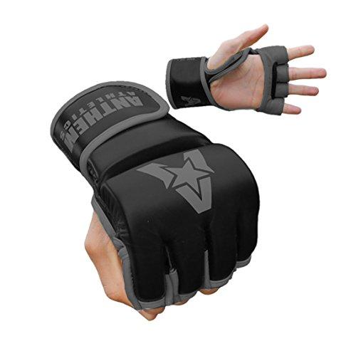 NEW COLORS! Anthem Athletics PREDATOR MMA Gloves - Training, Kickboxing, Striking, Muay Thai, Grappling, UFC, Boxing, BJJ, 100% Highest Grade Leather - Black/Grey - Large