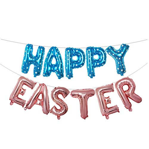 HHmei 16 inch Large Happy Easter Foil Balloon Set Banner Bunting Party Decoration 16 inch Happy Letter Balloon Combination -