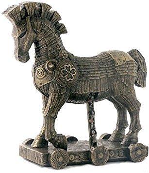 Greek Bronze Sculpture - 10.75 Inch The Greek Trojan Horse Cold Cast Bronze Sculpture Figurine