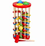 Chusea Child Activity Hammer Toys Colorful Cartoon Ladder Wooden Knocking Table Children Puzzle Educational Toys (Red)