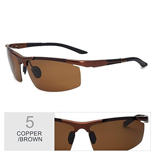 Reborde Guía Trajes Gafas Copper Hombre Luz Rayos De Gafas De Gafas Negro Polarizadas Mg Semi Gris De Anteojos Los Sol De Filtrar Hd TIANLIANG04 Al Brown qC7dxq