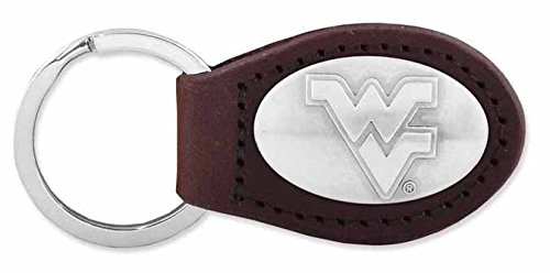 ZeppelinProducts WVU-KL6-BRW West Virginia Leather Key Fob, Brown