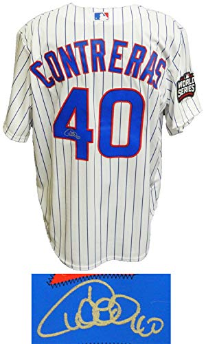 Willson Contreras Autographed Signed Chicago Cubs White Pinstripe 2016 World Series Patch Majestic Jersey - Certified Signature