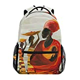RUNE HALI50ME School Backpack, Africa Women Oil Painting Print Waterproof Lightweight Lage Bag for School Travel Women Men Girl Boy