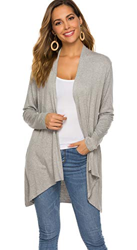 - Women's Casual Long sleeve Open Front Lightweight Drape Cardigans With Pockets (US XXL(20-22), Light Gray)
