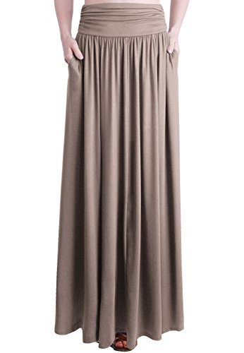 (TRENDY UNITED Women's Rayon Spandex High Waist Shirring Maxi Skirt With Pockets (TFE, Large))