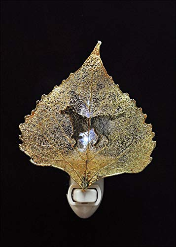 Buddy Silhouette on Real 24K Gold Cottonwood Leaf Nightlight, Real Leaf Nightlight | Dog - Cottonwood 24k Gold Leaf