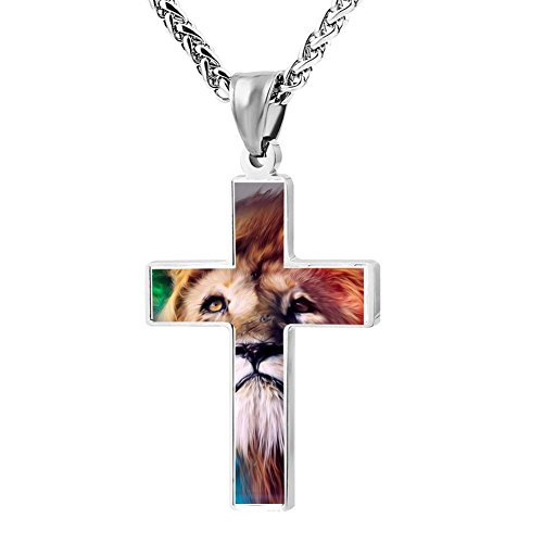 Kenlove87 Patriotic Cross Lion Religious Lord'S Zinc Jewelry Pendant Necklace - Lion O Costume Make