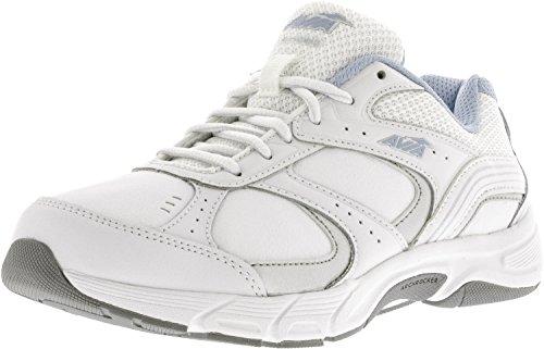 AVIA Women's Nomad Walking Shoe, White/Chrome Silver/Skyway Blue, 6.5 C US