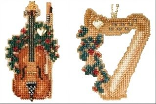 (2 Item Bundle - Counted Glass Bead Ornament Kit with Charms: Violin & Harp)