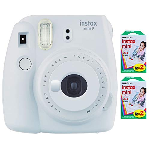 Fujifilm Instax Mini 9 Instant Camera (Smokey White) with 2 x Instant Twin Film Pack (40 Exposures)