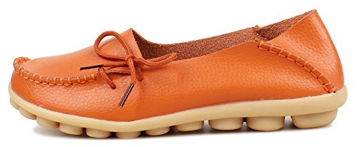 Fangsto Women's Soft Cowhide Leather Loafer Flat Shoes Slip-Ons Sty-1 Orange