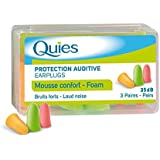Quies - Protection Auditive en Mousse - pack de 3 paires - lot of 6 (18 paires), Couleurs Assortis