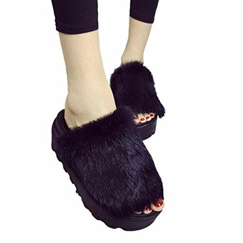 DM&Y 2017 muffins de conejo negro zapatillas de piel de fondo grueso punta abierta plana palabra zapatillas Black