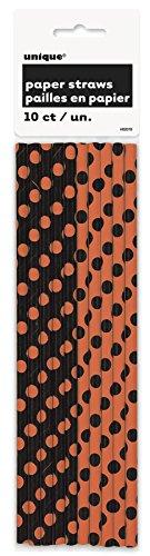 Orange & Black Polka Dot Halloween Paper Straws, 10ct -
