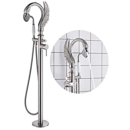 (Votamuta Stainless Steel Floor Mounted Bathroom Tub Filler Shower Faucet Free Standing Shower Mixer Tap with Hand Shower Brushed Nickel Finish)