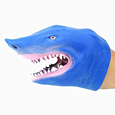 Thermoplastic Rubber S-Hark Hand Puppet Toy Story Telling Doll Props Fidget Toys for Sensory Kids (Blue): Clothing