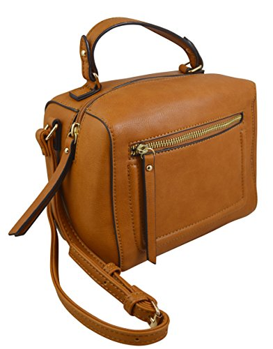 Satchel Q York Katie Boho Casual Leather Purse Bucket New Elegant Cognac Vegan Crossbody wpP1q
