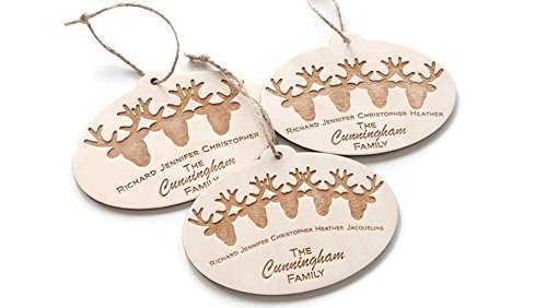 (Custom Personalized Reindeer Family Names Christmas ornament - Keepsake Gift - 5.5 in x 3.75 in - Laser cut and engraved birch)