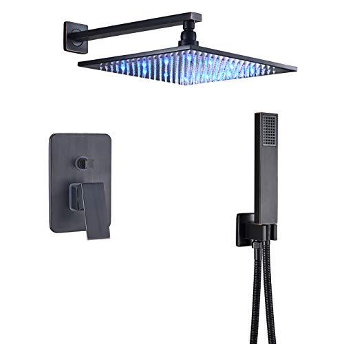 Rozin Bathroom 2-way Mixer Shower Faucet Set 12-inch LED Light Rainfall Showerhead + Handheld Spray Oil Rubbed Bronze