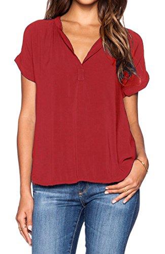 LILBETTER Women Chiffon Blouse V Neck Short Sleeve Top Shirts (L, Bright Red)