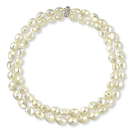 La Regis Jewelry Sterling Silver 2-Rows 11-11.5mm Baroque Freshwater Cultured High Luster Pearl Necklace, 17