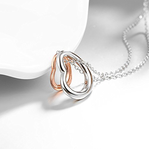 Rose gold charm double heart silver pendant necklace eternal a rose gold charm double heart silver pendant necklace eternal a lifetime loving you interlocking heart necklace for womens girls teens aloadofball Image collections