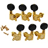 DN 3 Pairs 3R3L Gold Guitar Tuners Machine Heads Black Button For Steel String Guitars