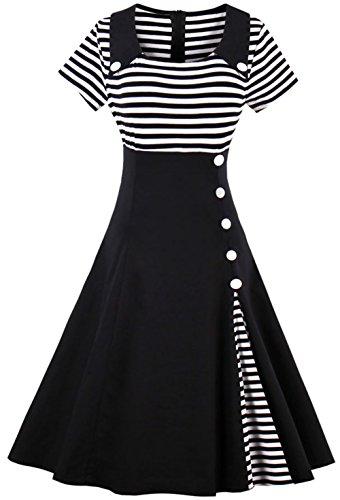 Joansam 50s 60s Patchwork Striped Vintage Women Midi Dress Short Sleeve Female Casual Retro Pin up Dresses Vestido Robe Femme JS1528B-2XL